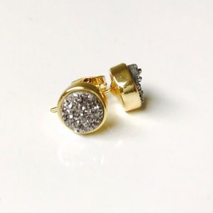 Jewelry - 24k gold druzy stud earrings gunmetal grey #shbb
